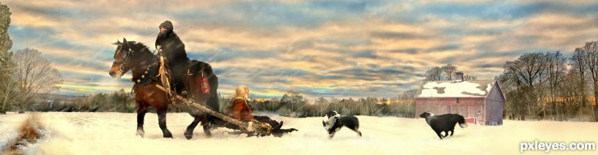 A Winter Ride at Sunset photoshop picture)