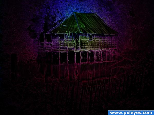 lightning Wooden hut