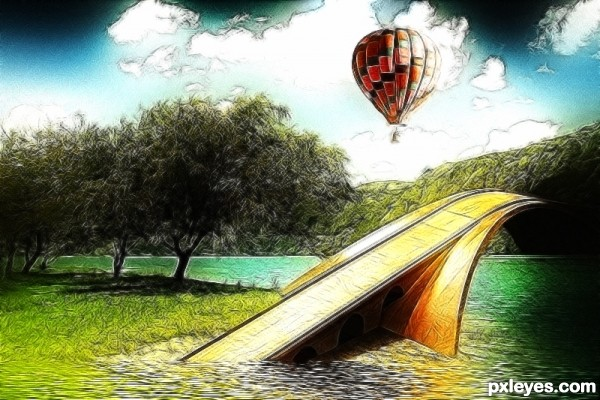 Dreamy Flooded Bridge Painting