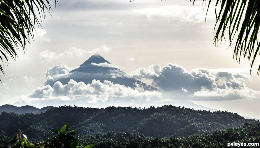 The Perfect cone Mayon Volcano in Albay Philippines