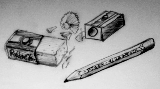 eraser, sharpener and pencil