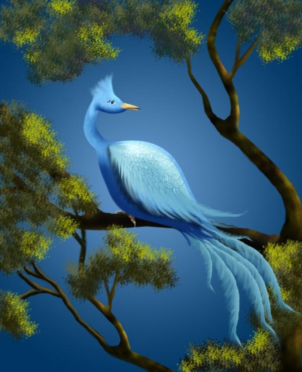 прилетела на подоконник синяя птица, посидела, посмотрела через окошко и...