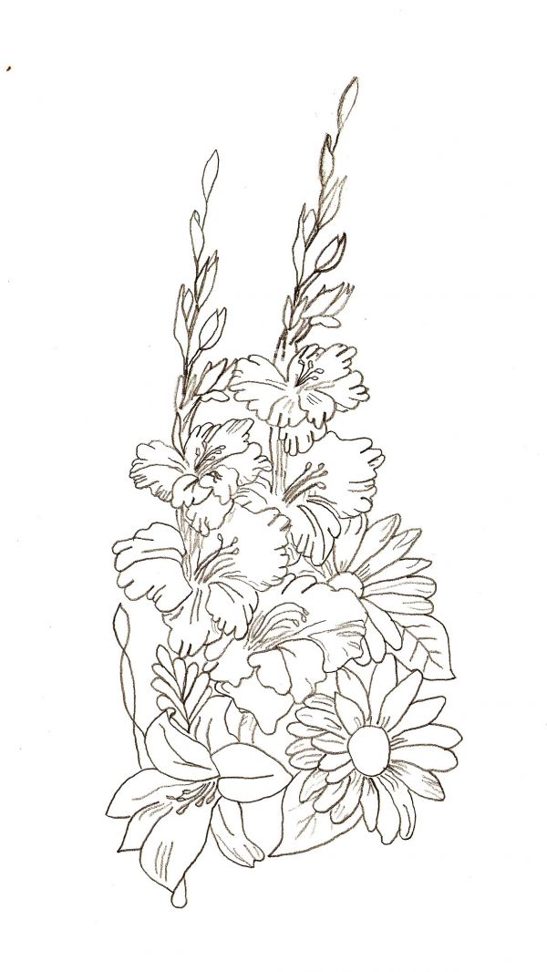 How To Draw A Flower Basket With Flowers : Flowers bouquet roses drawing