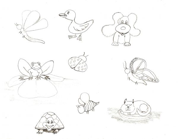 Line Drawings Of Cute Animals : Cute animals line drawing