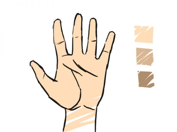 How to draw a proportioned hand structure final image