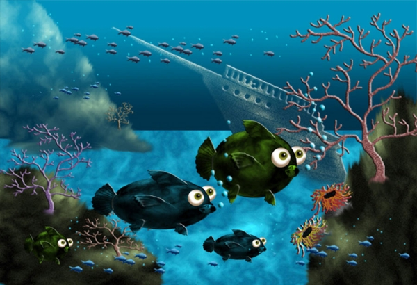 Draw an underwater scene with fish from scratch for Fish scenery drawing
