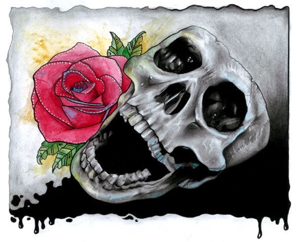 Draw a Skull and Rose with Pencils and Watercolours Final Image