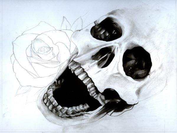 Draw a Skull and Rose with Pencils and Watercolours ...