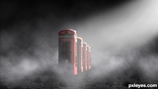 Create a Surreal Atmospheric Phone Booth Scenery Final Image