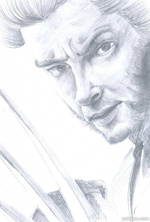 How to Draw a Realistic Face Sketch of Wolverine Final Image
