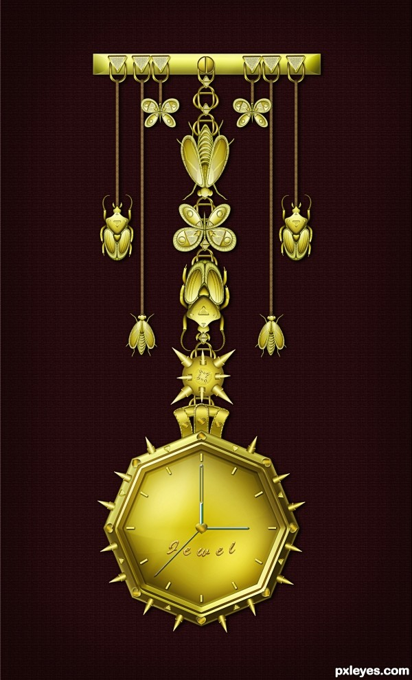 Create a Fantastic Glowing Decorated Time Piece Final Image