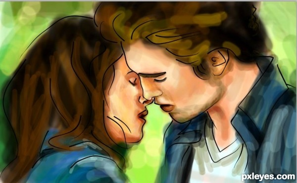 Create an Artistic Drawing of the Twilight Kiss Using Coreldraw and Photoshop Final Image