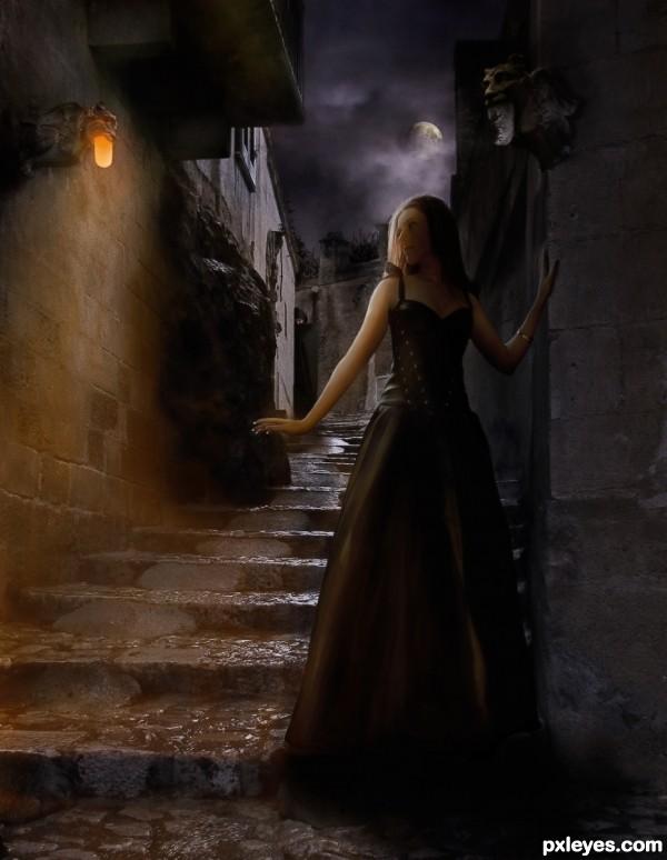 Create a Creepy Dark Gargoyle Road Final Image