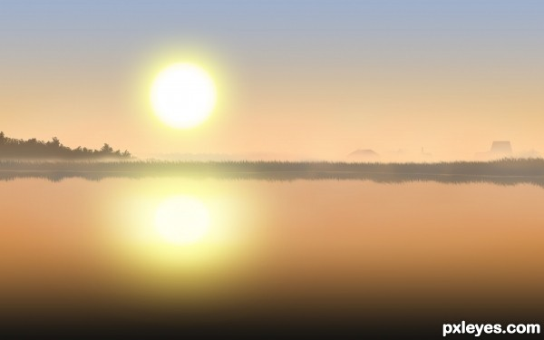 Create a Misty Morning Scenery from Scratch Final Image