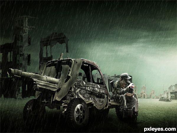 Create an Emotional Post War Scene Final Image